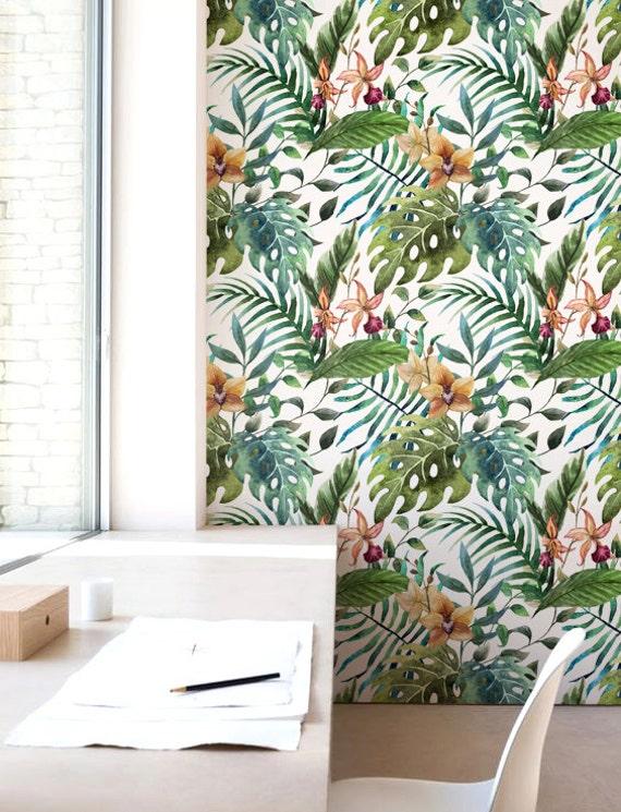 Floral Wall Decor Jungle Leaf Wallpaper Removable