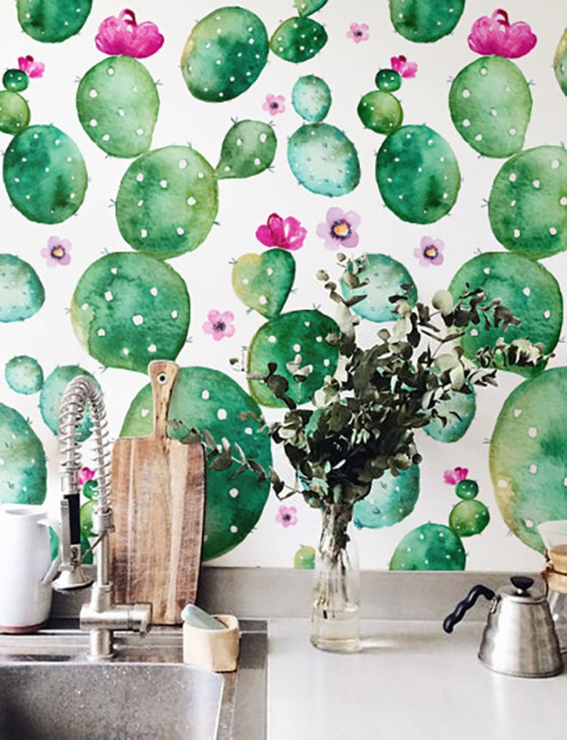 Watercolor Cactus with flowers Wallpaper Removable Wallpaper image 0