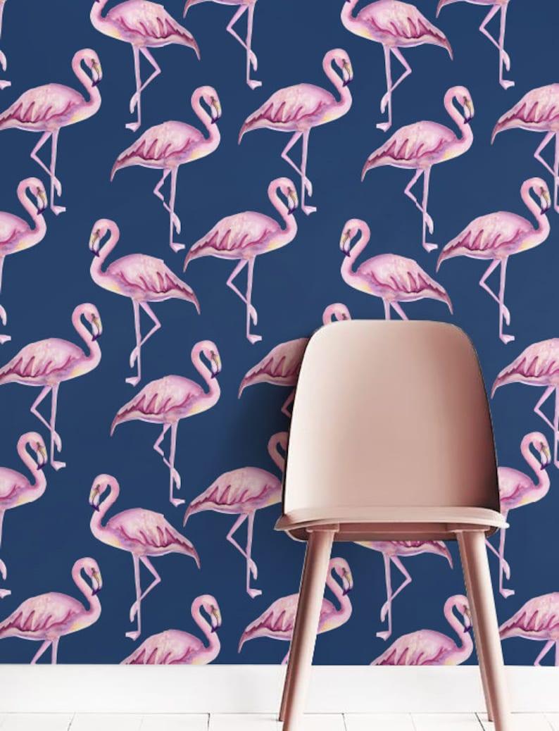 Pink flamingo Wallpaper Removable Wallpaper Self-adhesive image 0