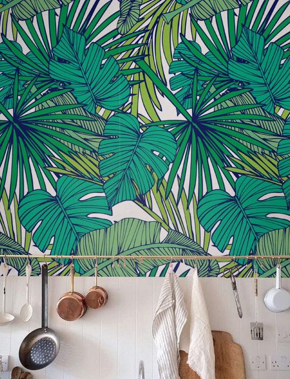 Palm Monstera leaf Wallpaper Removable Wallpaper | Etsy