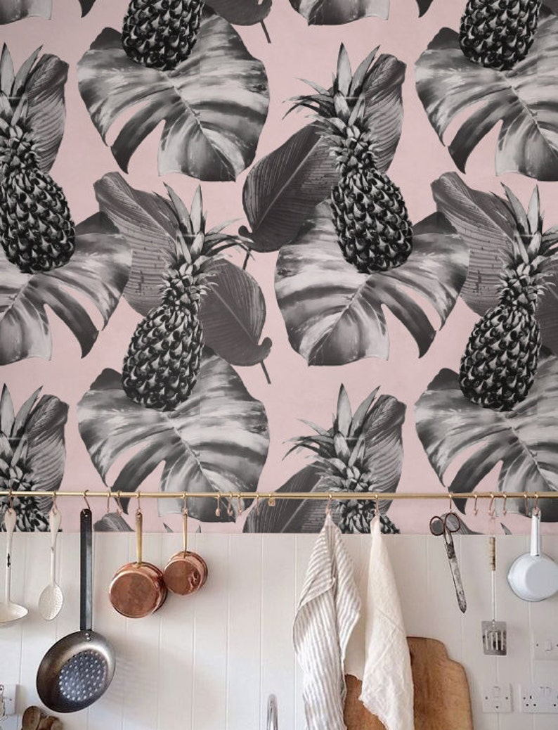 Pineapple and  Monstera leaf Wallpaper Removable Wallpaper image 0
