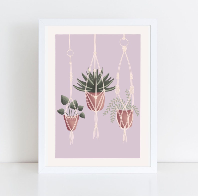 Postal card illustration of Hanging plants in pots purple image 0
