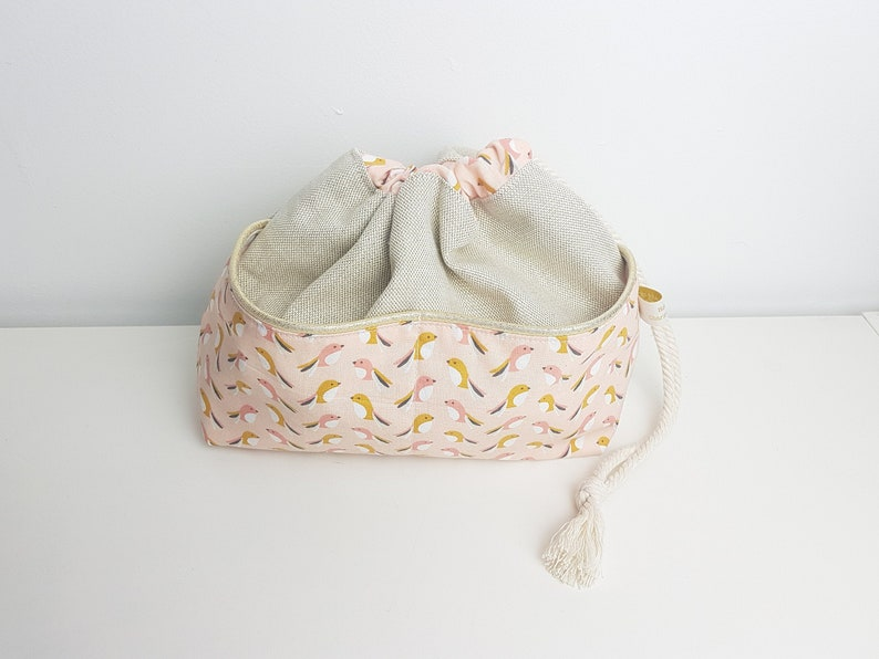 Drawstring bag with pockets  toiletries bag Gold cotton image 0