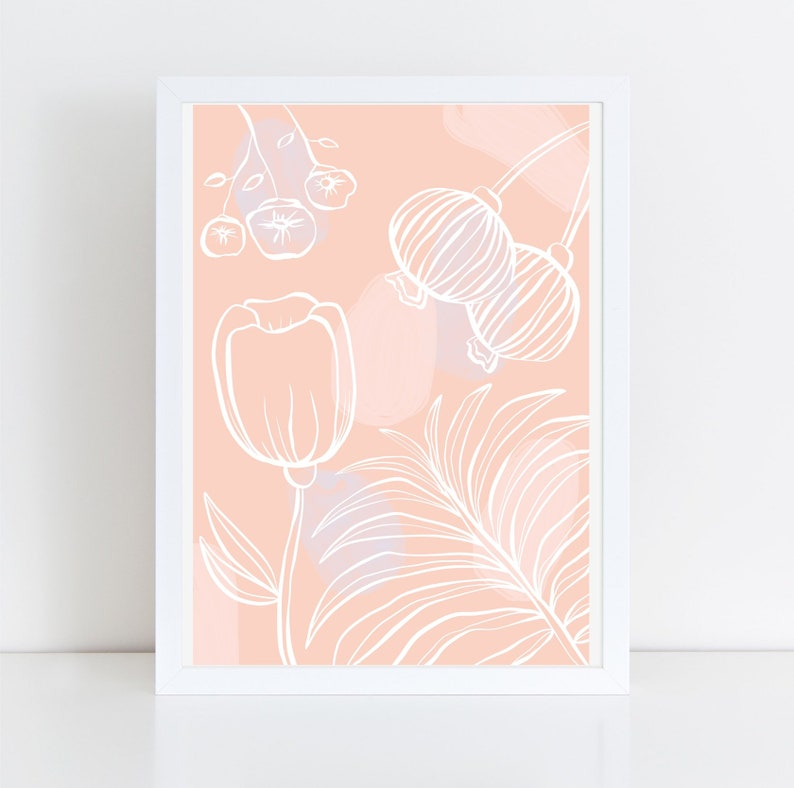 Giclee Print illustration Floral Waves thick 100% Pink