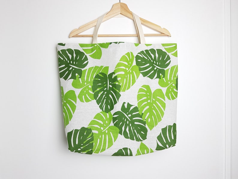 Totebag with Monstera print handbag grocery bag made from image 0