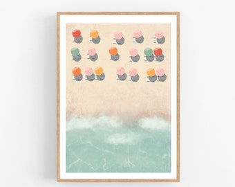 Poster Fine Art beach illustration sea on thick paper 100% cotton wall decoration travel