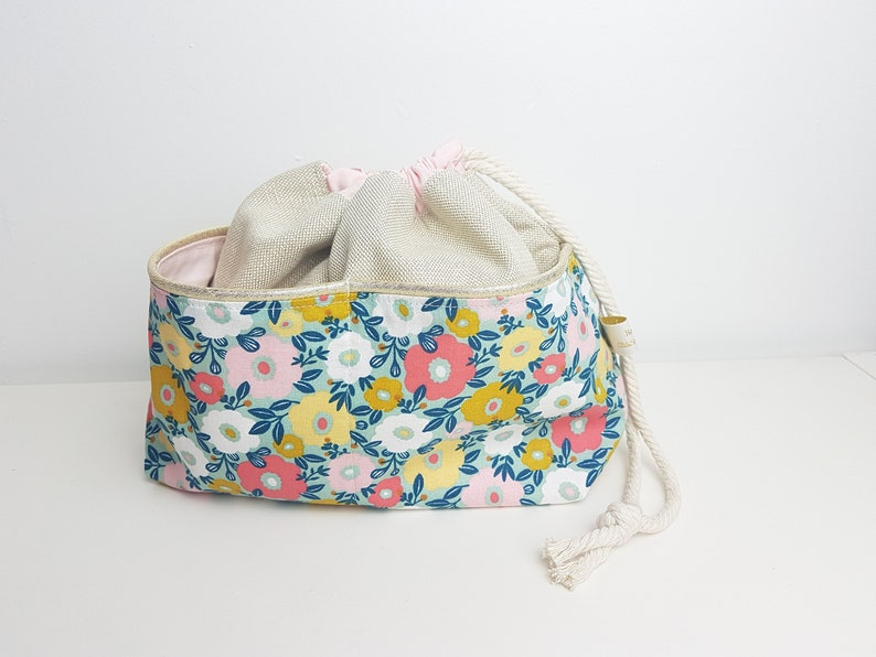 Drawstring bag with pockets  toiletries bag Gold cotton image 0