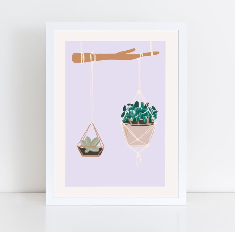 Postal card illustration of Hanging plants from a branch image 0