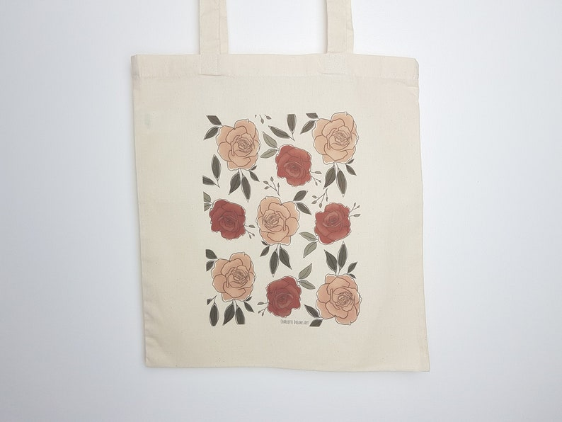 Totebag with Illustration Floral Roses Print handbag grocery image 0