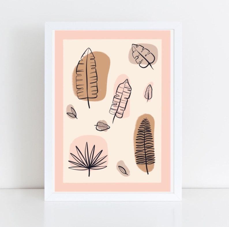 Postal card illustration of Tropical leaves stationary image 0
