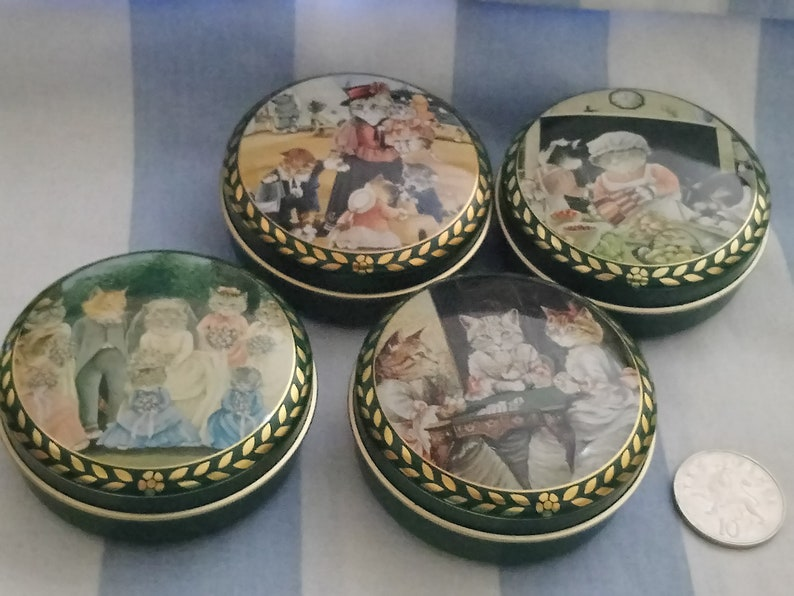Bentleys of London Victorian Cat Tins 1990 A collection of 4 vintage tins.