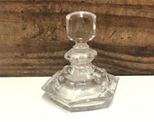 Vintage Hexagon Shaped Perfume Bottle, Clear Glass Perfume Bottle, Glass Stopper, Triangle with J in the Center Maker 39 s Mark