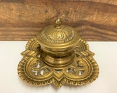Vintage Brass Inkwell with Original Porcelain Cup, Vintage Gold Ornate Inkwell, Brass Desk Accessory, Man Cave Gift