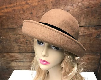 e3709006f59 Vintage Tan Brim 100% Wool Hat by Bollman