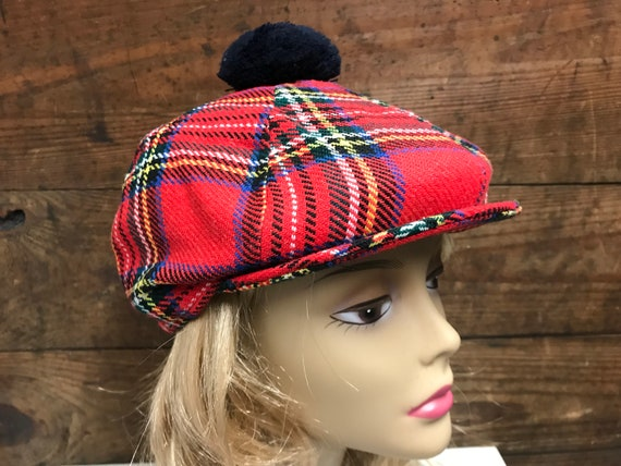 Vintage Unisex Plaid Beret, Irish Plaid Beret, Iri