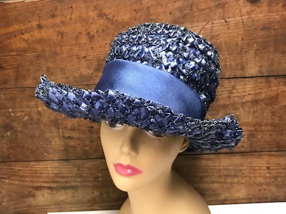 Vintage Navy Blue Straw Hat, Woven Straw Hat, Str… - image 2