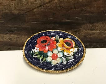 Vintage Micro Mosaic Tile Brooch, Navy Blue Background with Red, White and Yellow Florals, Italian Mosaic Brooch, Floral Brooch
