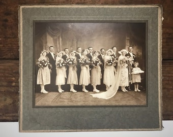 Vintage 1920's Wedding Photo, Vintage Wedding Party Portrait, Vintage Sepia Wedding Photo, Original Photo, Old Wedding Photo