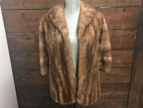 Vintage Mink Cape, Light Brown Fur Cape, Vintage F