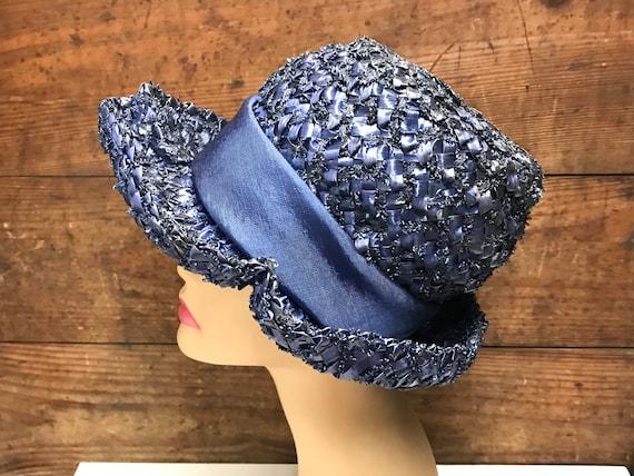 Vintage Navy Blue Straw Hat, Woven Straw Hat, Str… - image 3