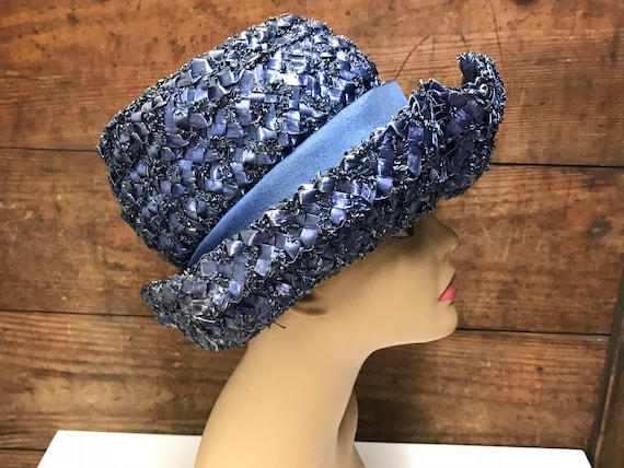 Vintage Navy Blue Straw Hat, Woven Straw Hat, Str… - image 5