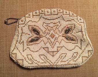 Vintage Beaded Ivory Czech Clutch, Zipper Closure, Beaded Handle On Back, Party Purse, Wedding Clutch, Evening Clutch