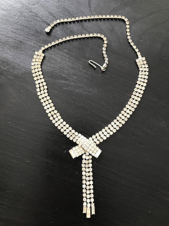 Vintage Clear Rhinestone Choker/Necklace, Wedding