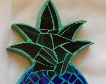 Blue Pineapple Stained Glass Mosaic