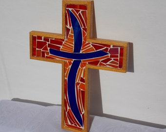 Blue Cross Surrounded by Orange and Red Original Stained Glass Mosaic