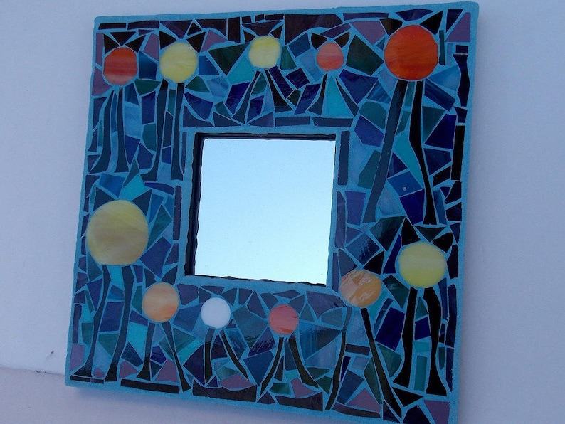best service 9c345 ae578 Whimsical Mosaic Mirror Looks Like Cat Ear Hats with Legs created using  Stained Glass