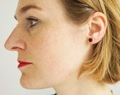 Real golden ear studs small with birch dessin - natural jewelry - wood - minimalistic and simple jewellery - present for her