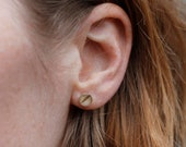 Real silver ear studs small with birch dessin - natural jewelry - wood - minimalistic and simple jewellery - present for her