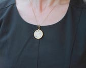 Necklace goldplated - nature jewelry - pendant with wood - handmade - simple jewellery- necklace for her