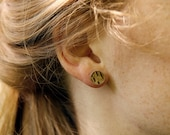 Real silver earstuds classic with birch dessin - natural jewelry - wood - minimalistic and simple jewellery - present for her