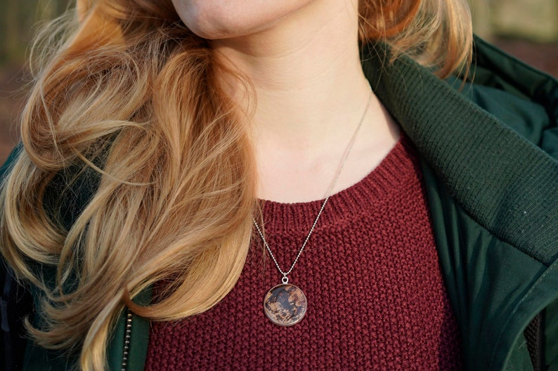 Necklace silverplated  nature jewelry  pendant with wood  image 0