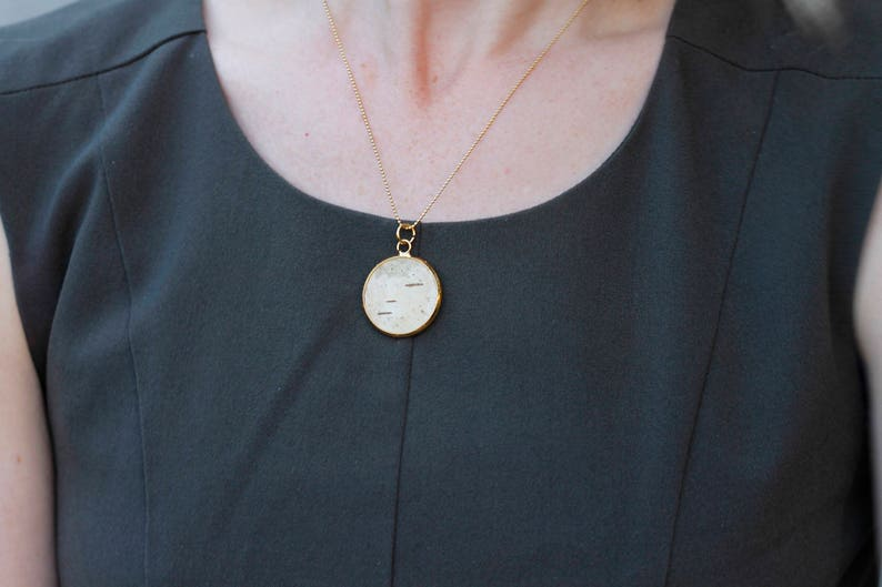 Necklace goldplated  nature jewelry  pendant with wood  image 0