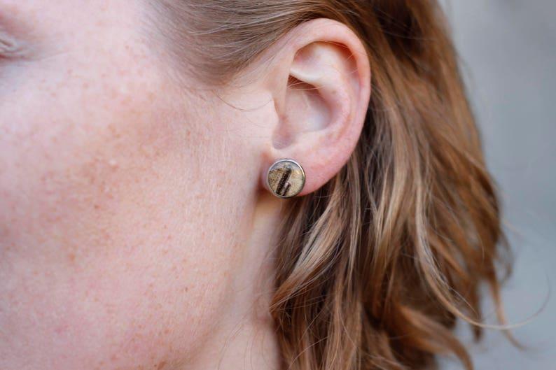 silver birch bark earrings  natural jewelry  earstuds birch image 0