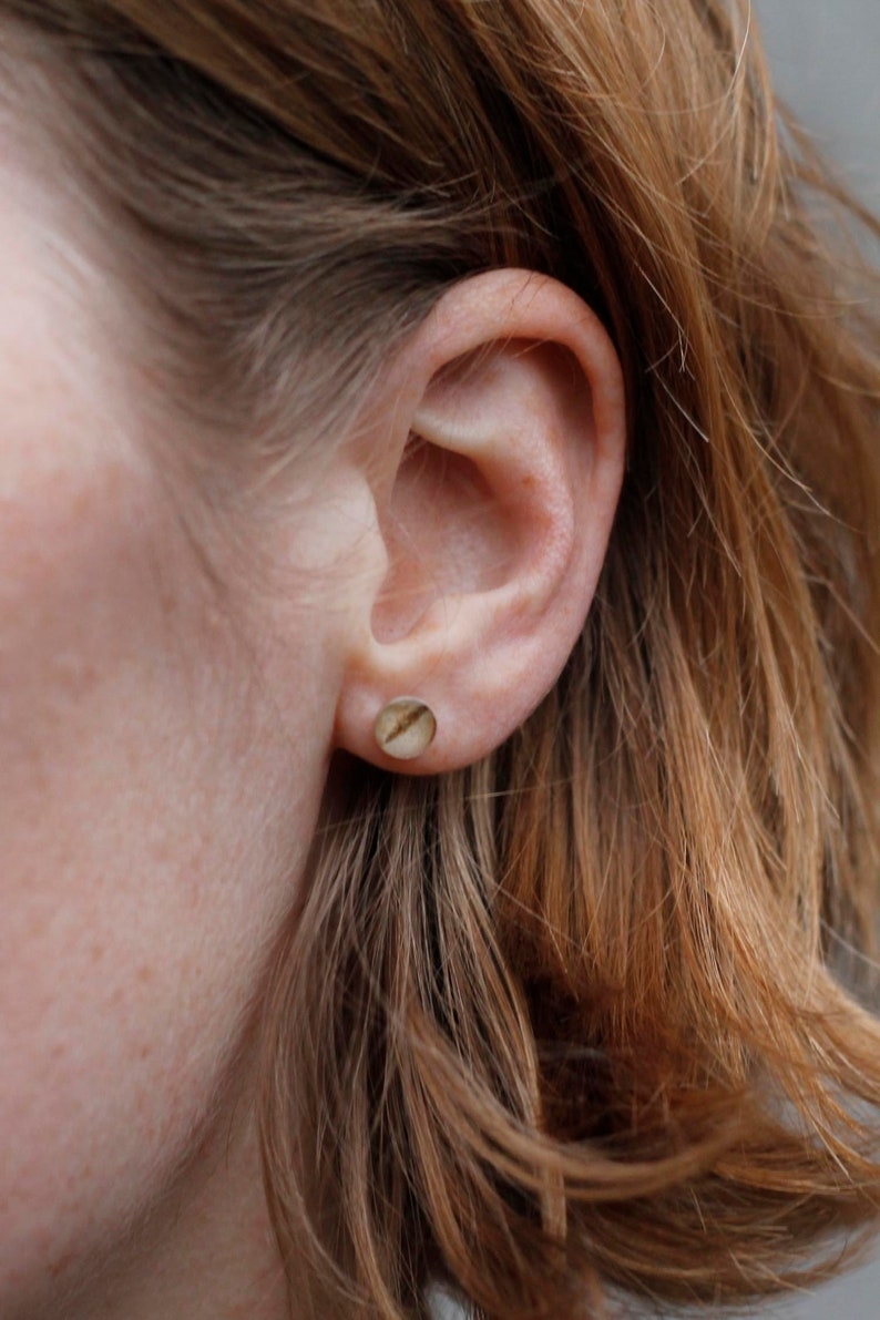 Real silver ear studs small with birch dessin  natural image 0