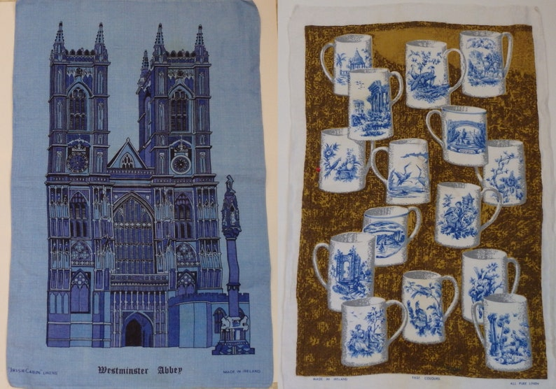 Cool Vintage Linen Tea Towels Irish Cabin Linen Kitchen Towels Lot Of 2 Made In Ireland Interior Design Ideas Apansoteloinfo