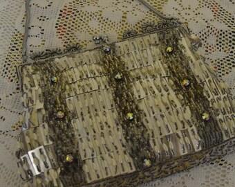 Stunning vintage beaded silver coloured evening bag/ LE SOIR 1960s bag, collectable vintage purse/ships worldwide
