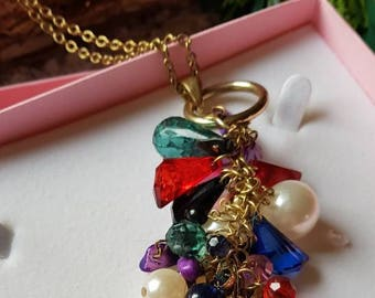 Reduced Pretty vintage costume jewellery/brightly coloured stones pendant on long gold tone chain/c1980/gift boxed/free UK shipping