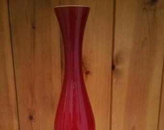 RUBY RED glass vase/ single stem vase / retro vintage slim glass vase 1970s/ ruby red glassware/ships worldwide from UK/