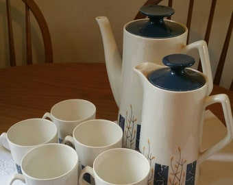 BESWICK  Apollo coffee set 1960s vintage pottery coffee pot hot water pot coffee cups Christmas gift ships worldwide from UK