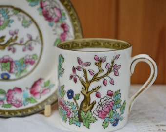 Indian Tree Demitasse/ Bridgwood pottery/ bone china coffee can and saucer 1920/English vintage pottery/ships worldwide from UK