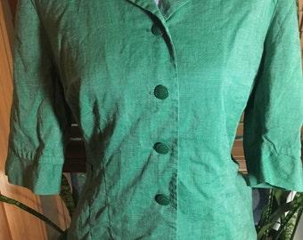 Vintage 1950's Girl Scout Button Up Uniform Top, Green Blouse