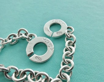 15ec3f595 Authentic Tiffany and Co. Silver 1837 T&Co. 925 Round Double Toggle Clasps  Link Bracelet