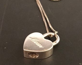 FOR MOM: Loving Tiffany & Co. Sterling Silver Mom Heart Padlock Necklace