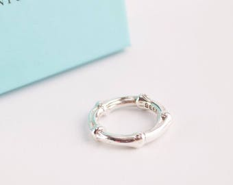 LIKE NEW!! Gorgeous Authentic Tiffany & Co. Sterling Silver Bamboo Ring - Size 7