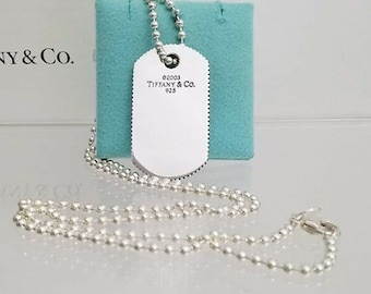 7747f3fab Very Cool Tiffany & Co Sterling Silver Unisex Coin-Edge Dog Tag Necklace on  a 16
