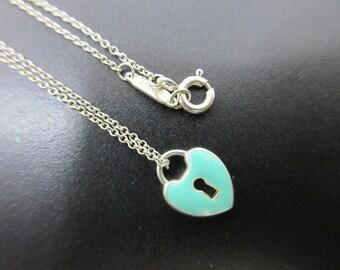 7bacd63ba6e Elegant Tiffany   Co. Sterling Silver and Blue Enamel Heart Padlock